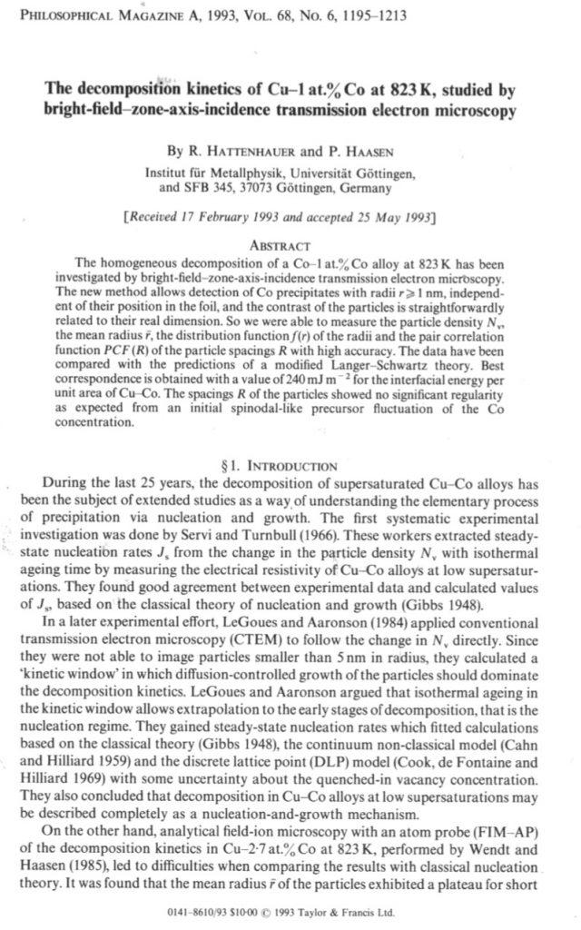 Veröffentlichung Hattenhauer